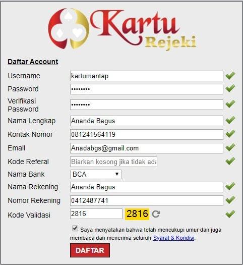 formulir pendaftaran disitus Kartu Rejeki
